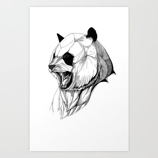 Angry panda (black stroke version for t-shirts) Art Print