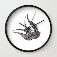 swallow Wall Clocks featuring SWALLOW by silb_ck