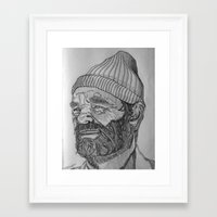 steve zissou Framed Art Prints featuring Steve Zissou by Antony Stephenson