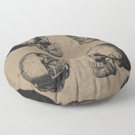 Skull View - Antique Vintage Style Medical Etching Floor Pillow