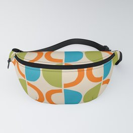 Mid Century Modern Half Circle Pattern 549 Beige Orange Cyan and Olive Fanny Pack