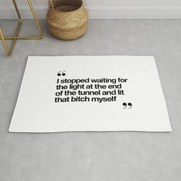 The Light at the End of the Tunnel black and white ink typography poster quote home decor bedroom Rug