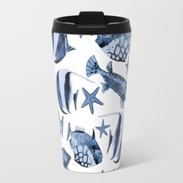 Fish underwater watercolor allover pattern Travel Mug