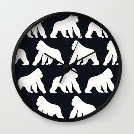 Gorillas White Wall Clock