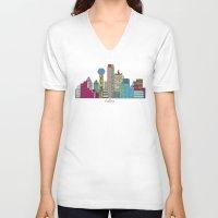 dallas V-neck T-shirts featuring Dallas city  by bri.buckley