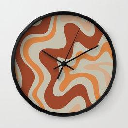 Liquid Swirl Abstract Pattern Rust Orange Pale Sage  Wall Clock