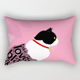 Typographic black and white kitty cat portrait on pink 2 #typography #catlover Rectangular Pillow