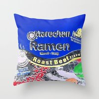 ramen Throw Pillows featuring Ramen Noodles by Danny Daurko
