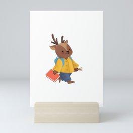 Hello Kindergarten Deer Woodland Animals Cute School Mini Art Print