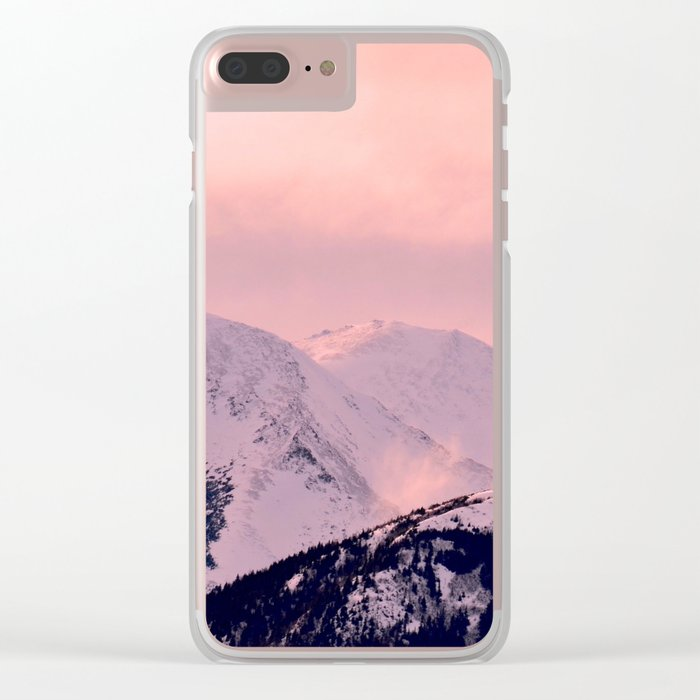 Kenai Mts Bathed in Serenity Rose - II Clear iPhone Case
