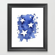 Stars Abstract Blue Watercolor Geometric Painting Framed Art Print