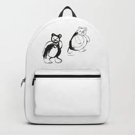 Two little bears pattern, design for kids, black and white drawig Backpack