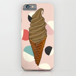 Chocolate Ice Cream Cone With Circle Pattern - Neapolitan Collection iPhone Case