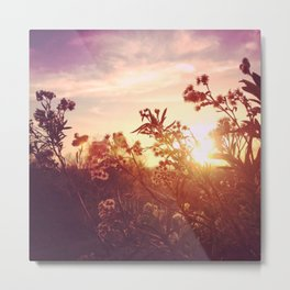 Riverside Weeds - Square Metal Print
