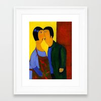couple Framed Art Prints featuring couple by agnes Trachet