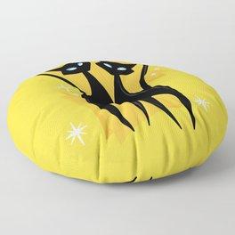 Sunshine Spectacular Atomic Age Black Kitschy Cats Floor Pillow