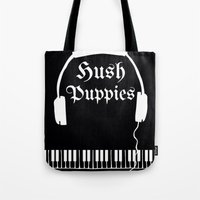 puppies Tote Bags featuring Hush Puppies by Mike Semler