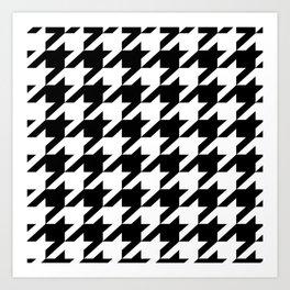 retro fashion classic modern pattern black and white houndstooth Art Print