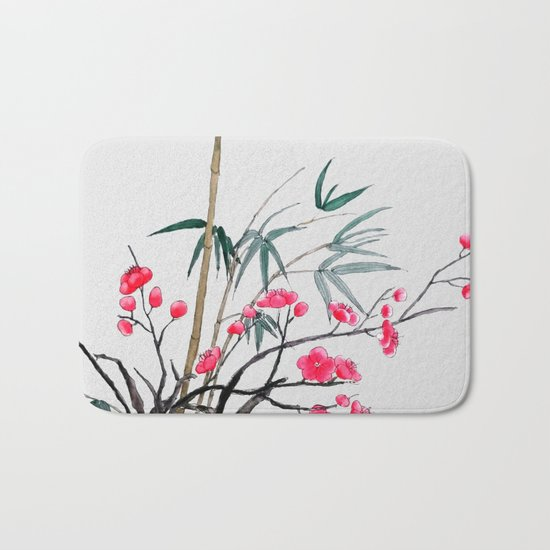 bamboo and red plum flowers Bath Mat