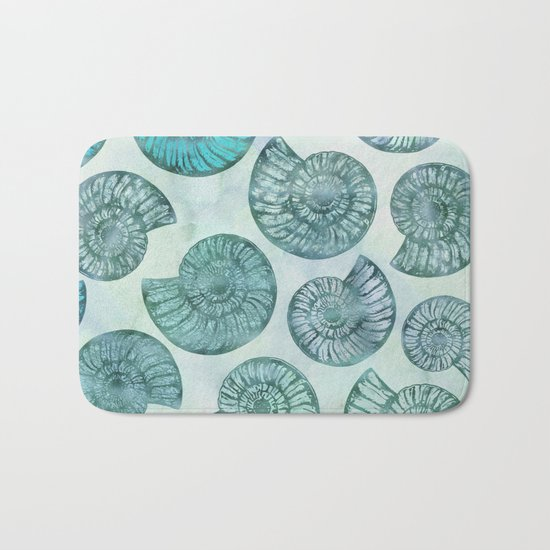 Shimmering Underwater Shell Scenery in turquoise, aqua and teal Bath Mat