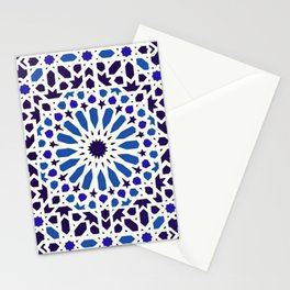 V19 Epic Light Blue Traditional Moroccan Pattern Design . Stationery Cards
