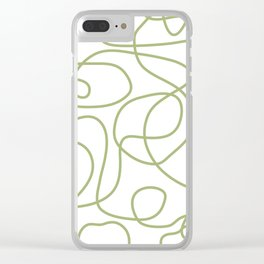 Doodle Line Art | Spring Leaf Green Lines on White Background Clear iPhone Case