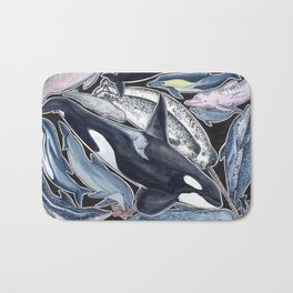 Dolphin, orca, beluga, narwhal & cie Bath Mat