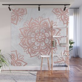 Rose Gold Mandalas on Marble Wall Mural