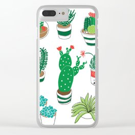 Illustrated Cactii Clear iPhone Case