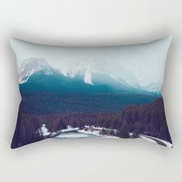 Canadian Rocky Mountains, Banff, Lake Louise, Winter Landscape Rectangular Pillow