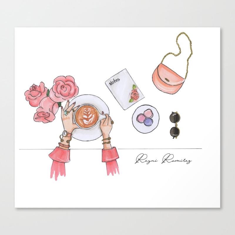 Pink Flat Lay Canvas Print by Reyniramirezillustrations CNV8707207