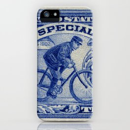 Special Delivery 1902 vintage blue postage stamp iPhone Case