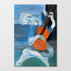 Picasso's Blue Mn with Guitar  Canvas Print