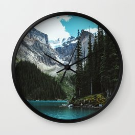 Canoeing in Moraine lake Wall Clock