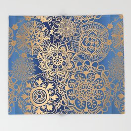 Blue and Gold Mandala Pattern Throw Blanket