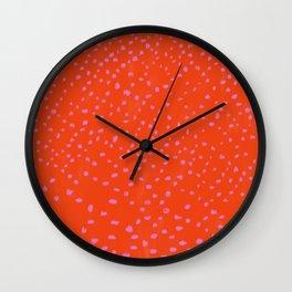 Red Pink irregular pattern carpet Wall Clock