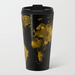 Gold Marble World Map Travel Mug
