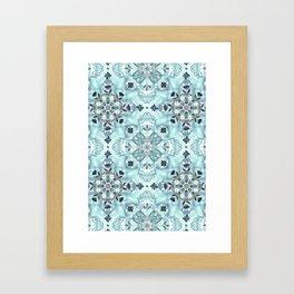 Soft Mint & Teal Detailed Lace Doodle Pattern Framed Art Print