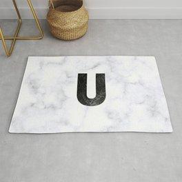Black Marble Initial Monogram Letter U Rug