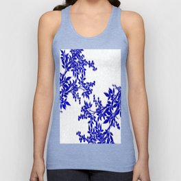 BLUE AND WHITE  TOILE LEAF Unisex Tank Top