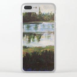 Manzanita Lake Pine Trees Clear iPhone Case