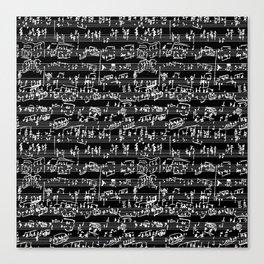 Hand Written Sheet Music // Black Canvas Print