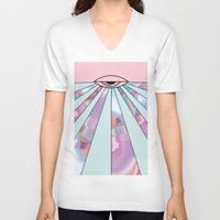 holographic V-neck T-shirts featuring Trans Colour Eye by Belinda O'Connell