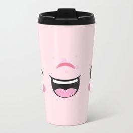 Pink Winking Smile Kawaii  Metal Travel Mug