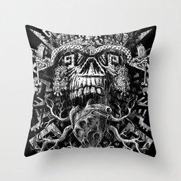 Aztec Skull Throw Pillow