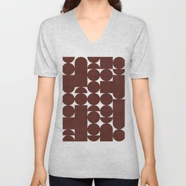 Retro Graphic Print, Geometric Pattern Unisex V-Neck