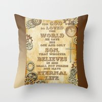 bible verse Throw Pillows featuring Steampunk Bible Verse For God So Loved the World by Whimsy and Nonsense