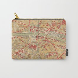 Paris City Centre Map - Vintage Full Color Carry-All Pouch