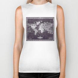 Vintage Map of The World (1833) Purple & White  Biker Tank