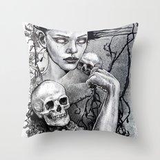 Skull Girl Nouveau Throw Pillow